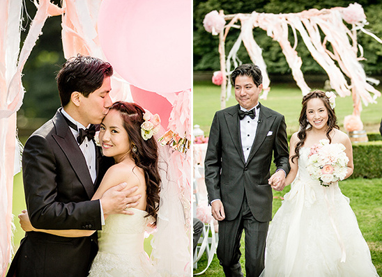 sweet pink and white wedding ceremony