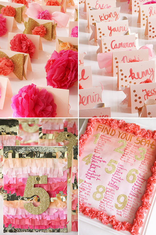 paper flower escort cards and paper fringe table numbers