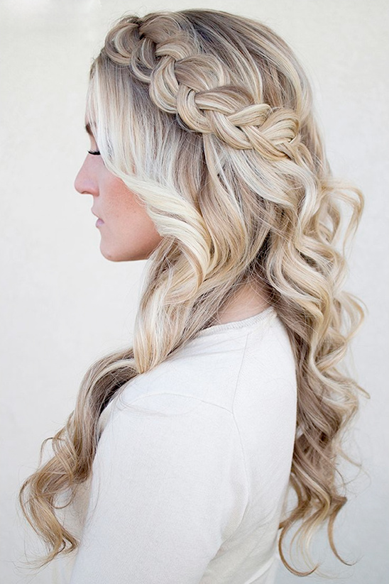 loose curls with braided crown
