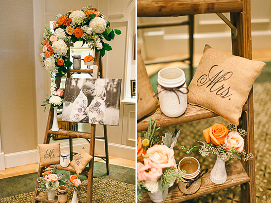 rustic ladder photo display