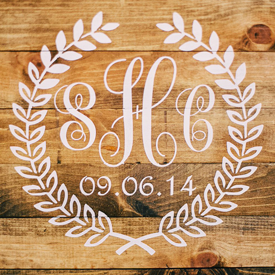 monogram on wood
