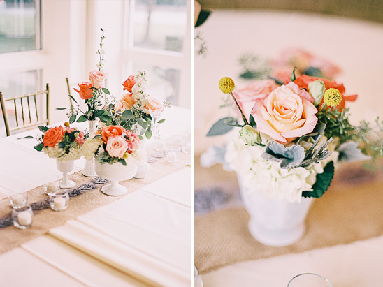 vintage peach and pink centerpieces