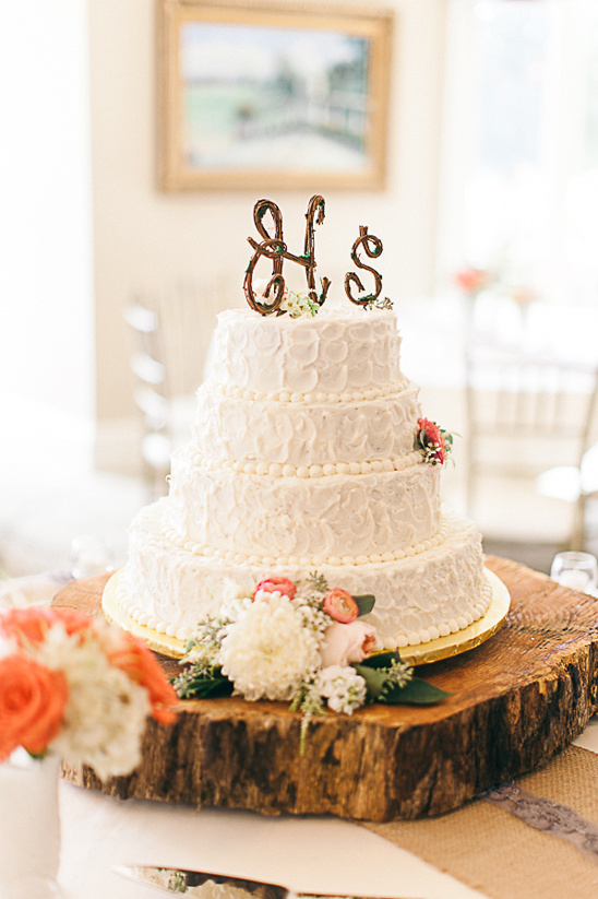rustic wedding cake with organic topper
