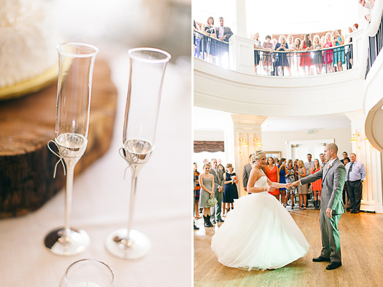 wedding champagne flutes and first dance