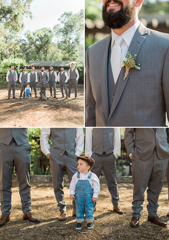 grey groomsmen and a cute ring bearer