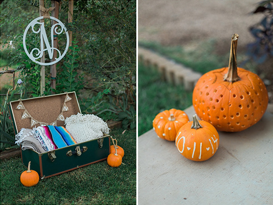 cozy blankets and cute pumpkins