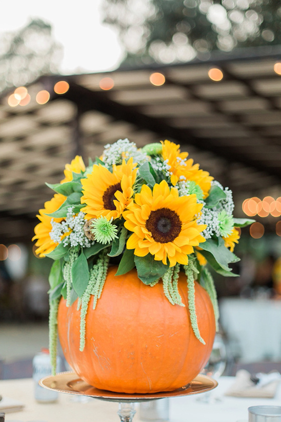 sunflower pumpkin centerpiece