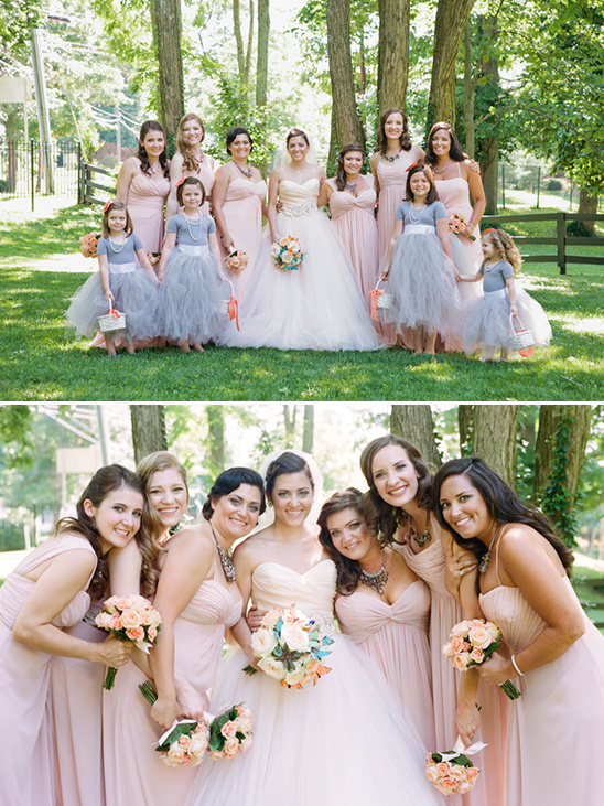 pink bridesmaids and gray flower girls