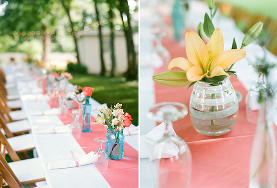 pink blue and yellow reception layout