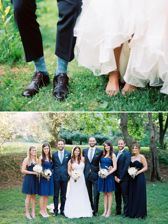 intimate blue wedding party