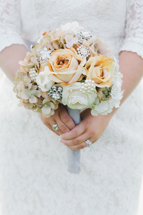 rose and broach bouquet