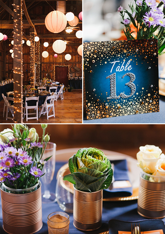 glitzy table numbers and lantern lit barn reception