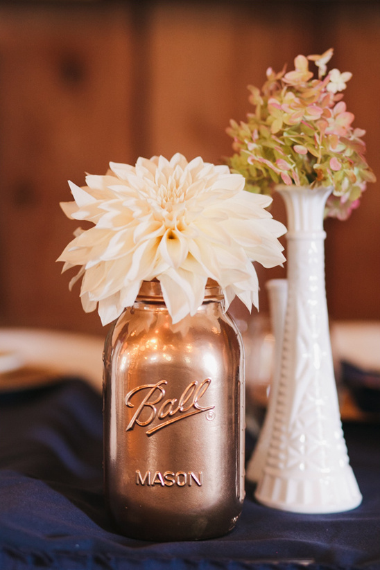 copper painted mason jar flower arrangements