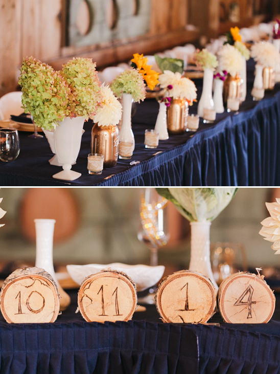 wedding party table decorated with wedding date