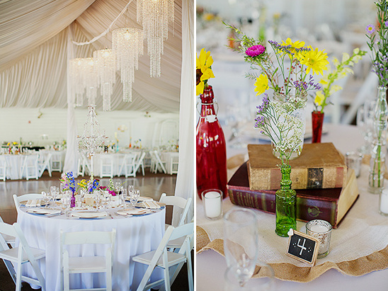 colorful reception centerpieces