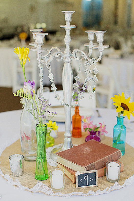 books flowers and candle holders
