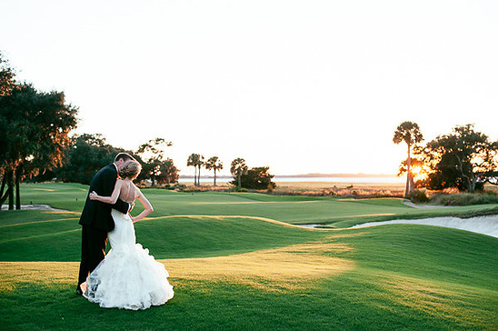 sunset golf course wedding