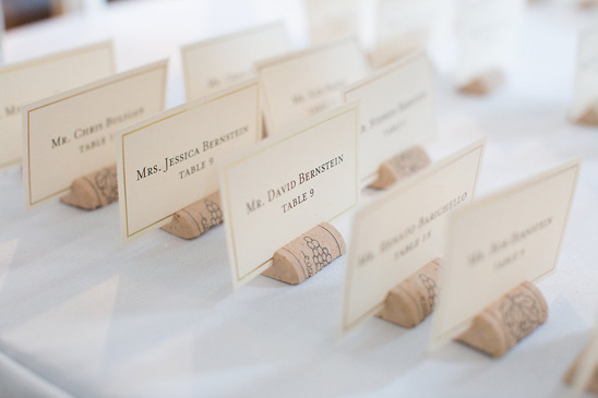 escort cards with cork stands