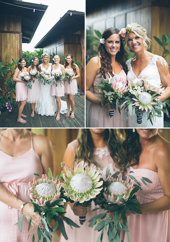 protea themed bridal party