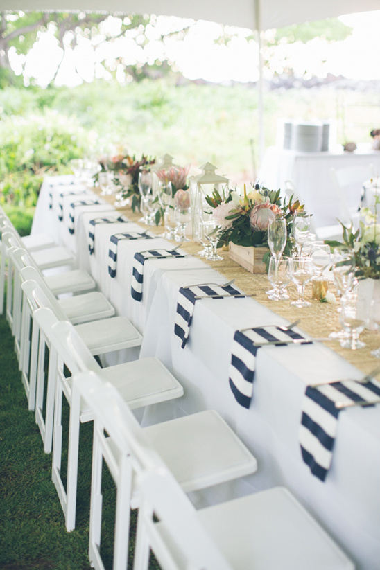 burlap and bold stripes