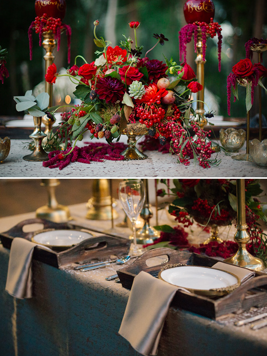 rustic red and gold table decor