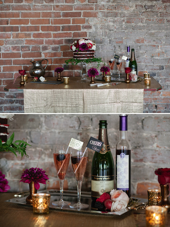 dessert table with cocktails
