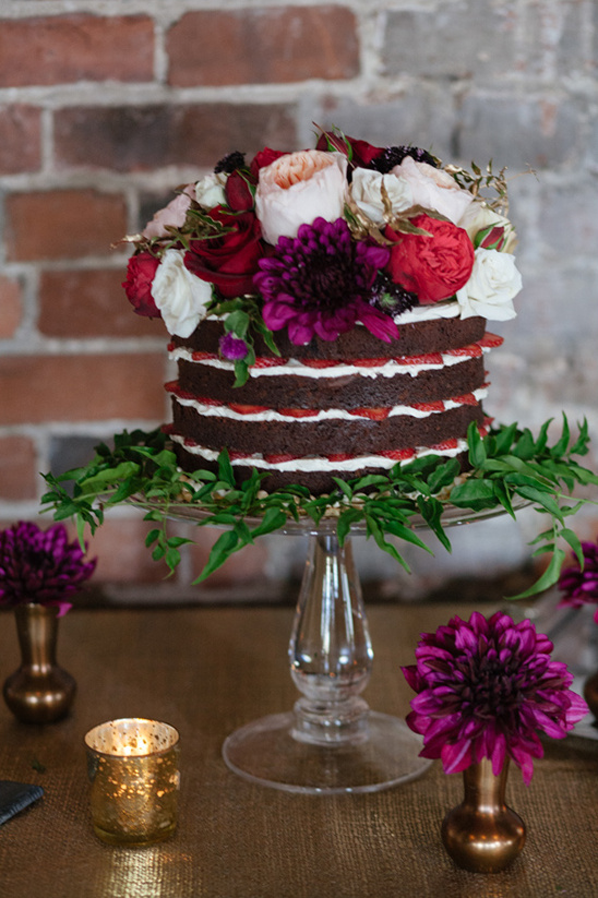 chocolate and strawberry naked cake