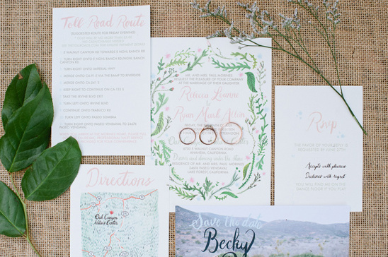 pink and green wedding stationery