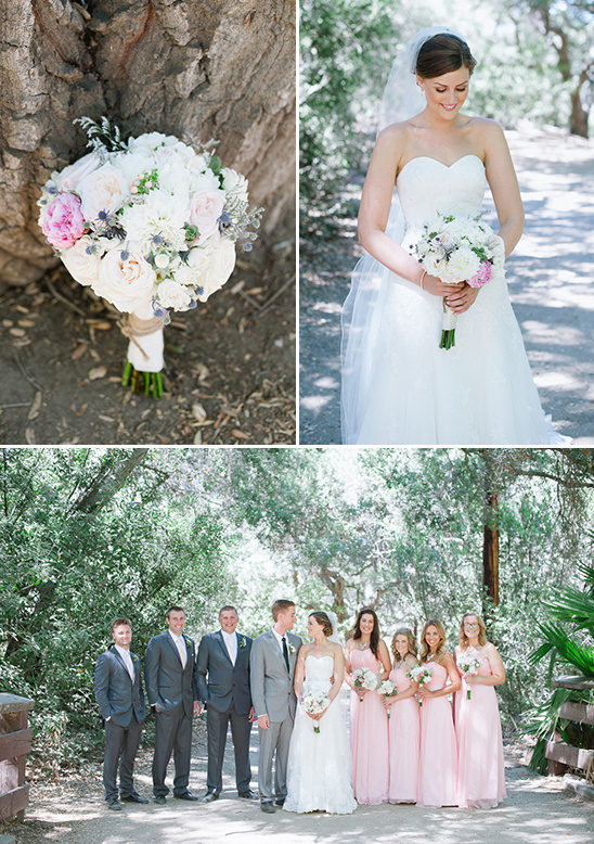 white pink and thistle bouquet