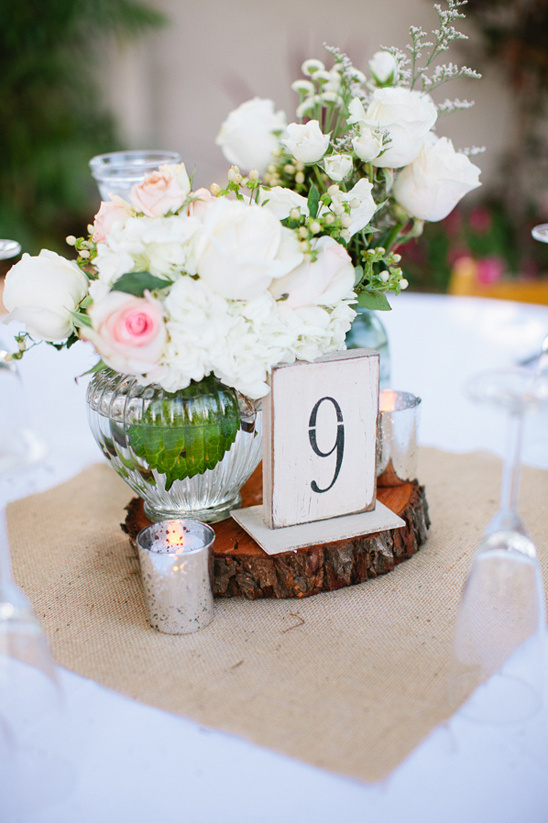 floralc enterpiece and table number