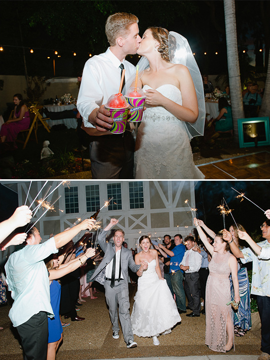 wedding slurpees and sparkler exit
