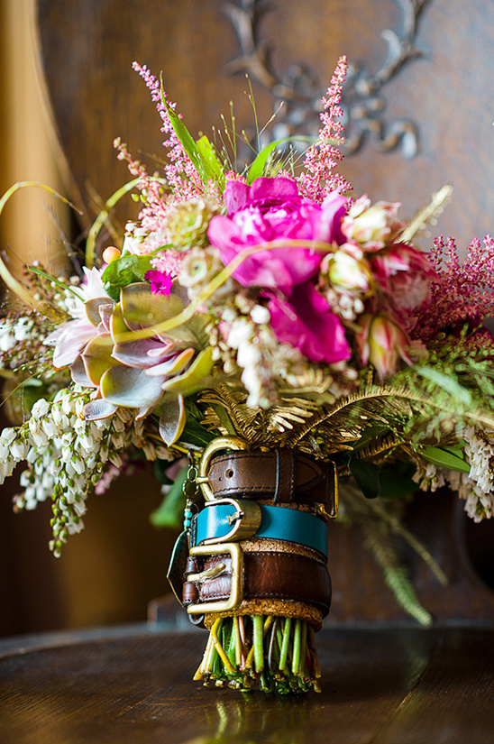 belt buckle bouquet wrap