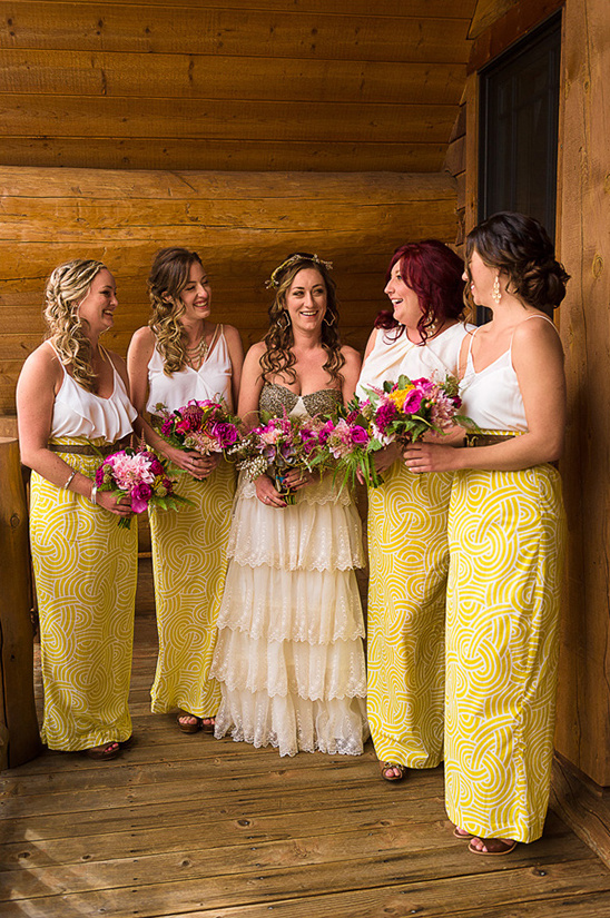 yellow and white bridesmaids