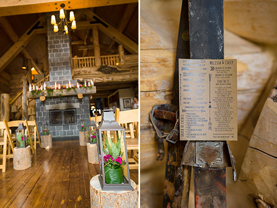 rustic woodsy indoor ceremony