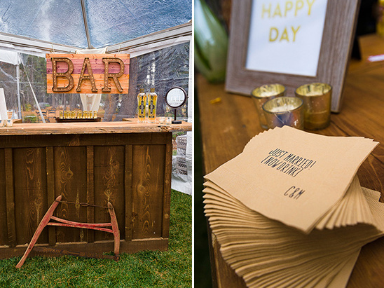 rustic bar with custom napkins