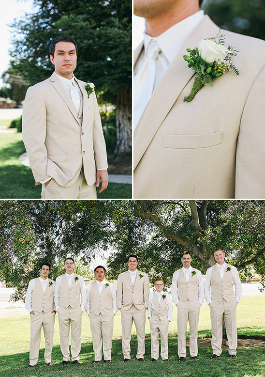white and tan groomsmen