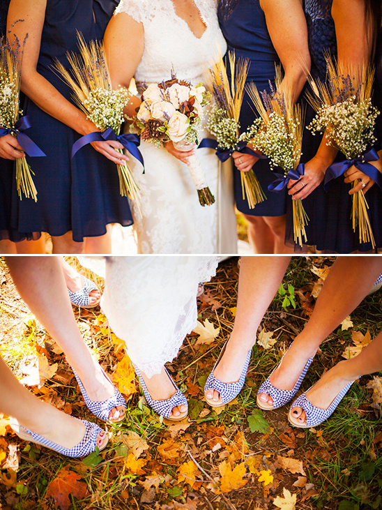 wheat bridesmaid bouquets and matching shoes