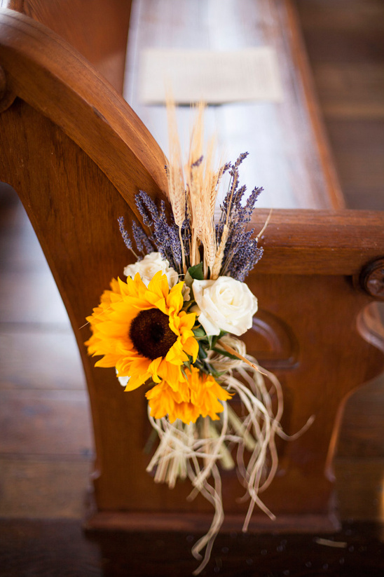sunflower wheat and lavendar aisle decor