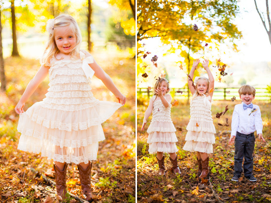 rustic fall ring bearer and flower girls