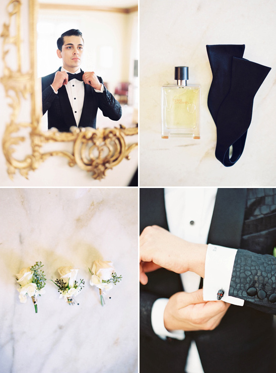 Groom decked out in a tux from Fellow Suits