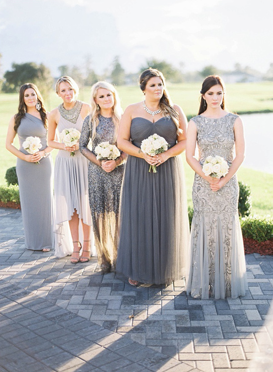 elegant assorted bridesmaids in grey