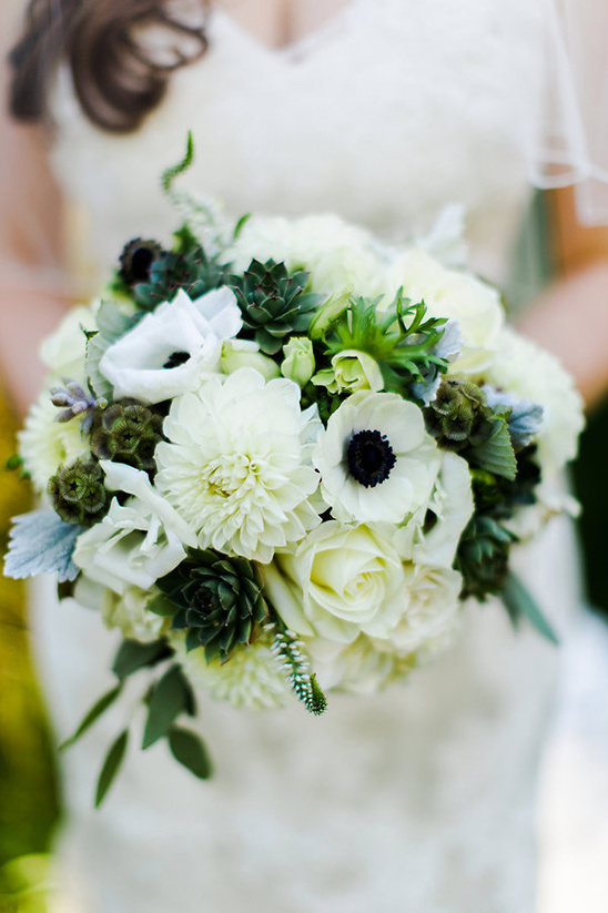 white bouquet with succulents