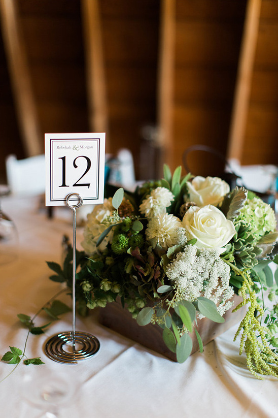 classy table number and centerpiece