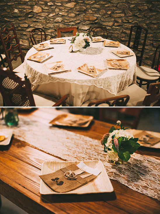rustic decor accented with lace