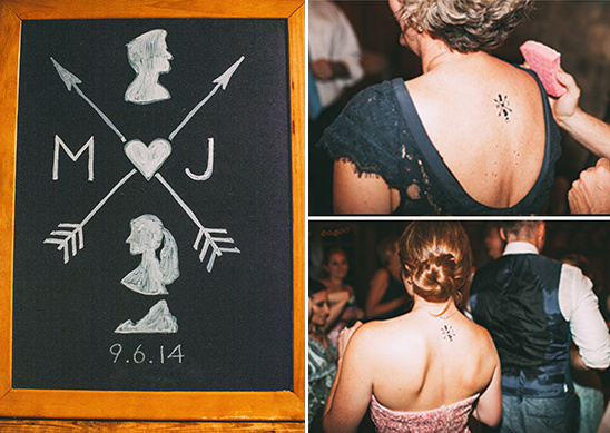 wedding monogram and temporary tattoos