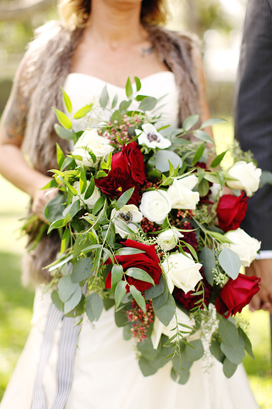 white and red cascade bouquet