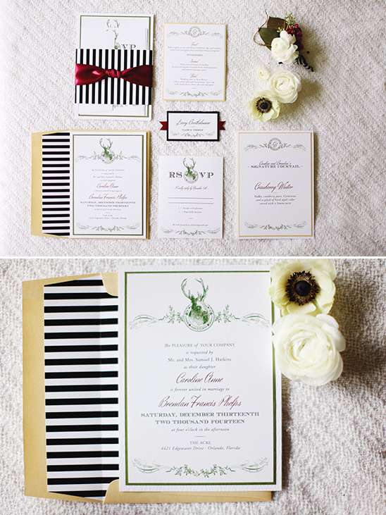 deer head wedding stationery