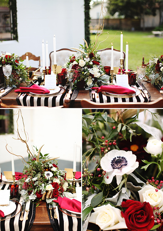 black white and red table settings