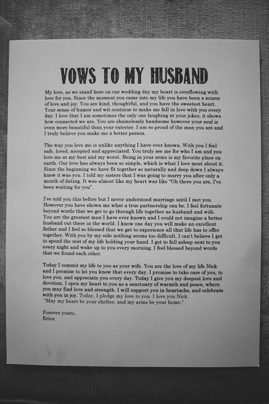 wedding vows to my husband
