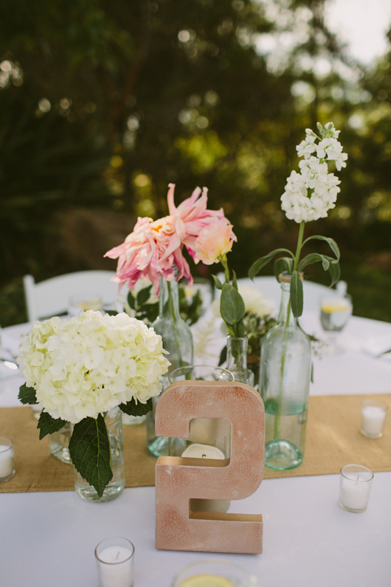 bud vase centerpiece and table number